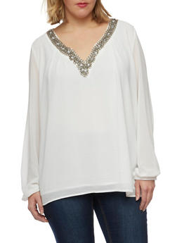 Plus Size Chiffon Top with Jeweled V Neck - IVORY  OFF WHITE - 8402072981548