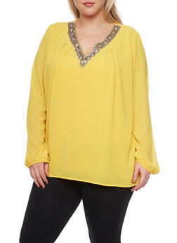 Plus Size Chiffon Top with Jeweled V Neck - MUSTARD - 8402072981548