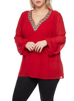 Plus Size Chiffon Top with Jeweled V Neck - BURGUNDY - 8402072981548