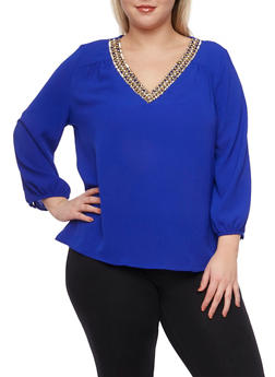 Plus Size Chiffon Top with Jeweled V Neck - 8402072981794