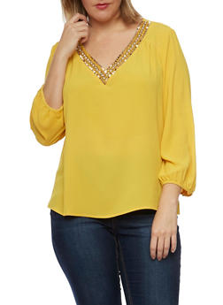Plus Size Chiffon Top with Jeweled V Neck - MUSTARD - 8402072981794