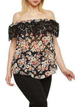 Plus Size Off the Shoulder Floral Top with Lace Trim - 8403054262594