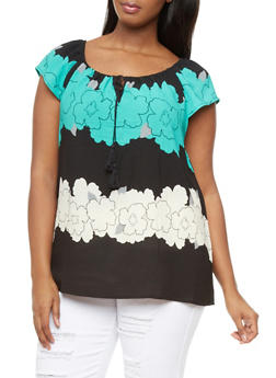 Plus Size Peasant Blouse With Tied Split Neck And Floral Print,GREEN,medium