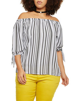 Plus Size Off The Shoulder Top in Striped Chiffon - 8403062705748