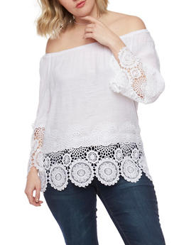 Plus Size Off the Shoulder Peasant Top with Crochet Trim - IVORY - 8404056125286