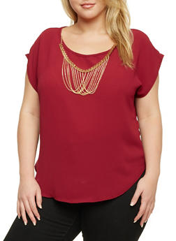 Plus Size Top with Chain Necklace - RUBY - 8406020624580