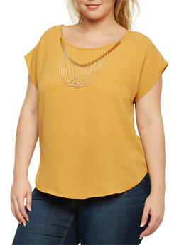Plus Size Top with Chain Necklace - MUSTARD - 8406020624580
