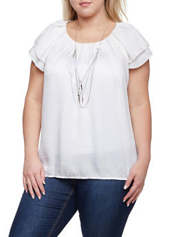 Plus Size Pleated Top with Removable Necklace - IVORY - 8406020626536