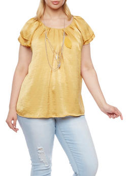 Plus Size Pleated Top with Removable Necklace - MUSTARD - 8406020626536