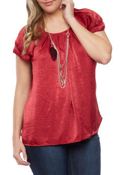 Plus Size Pleated Top with Removable Necklace - BURGUNDY - 8406020626536