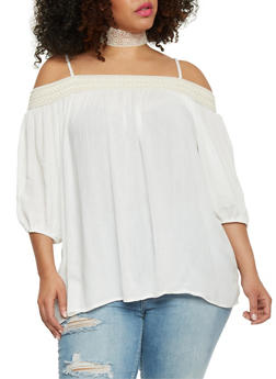 Plus Size Smocked Off the Shoulder 3/4 Sleeve Top - IVORY - 8406051067002