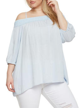 Plus Size Smocked Off the Shoulder 3/4 Sleeve Top - 8406051067002