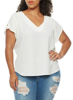 Plus Size Short Sleeve V Neck Top - IVORY - 8406051067634