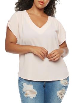 Plus Size Short Sleeve V Neck Top - PINK - 8406051067634