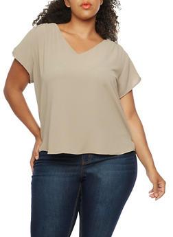 Plus Size Short Sleeve V Neck Top - 8406051067634
