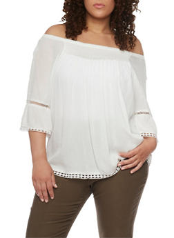 Plus Size Off the Shoulder Smocked Top with Crochet Trim - IVORY - 8406051068998