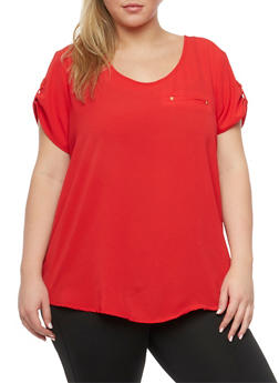 Plus Size Crepe Top with Zip Back - 8406051069114