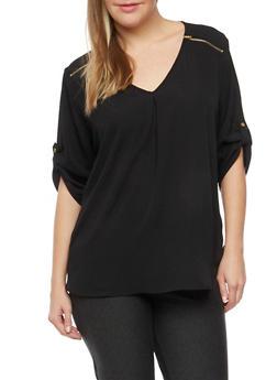 Plus Size V Neck Top with Zipper Shoulders - 8406051069117