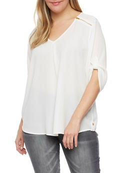 Plus Size V Neck Top with Zipper Shoulders - 8406051069117