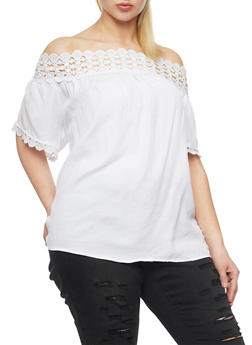 Plus Size Off the Shoulder Top with Crochet Trim - 8406051069231