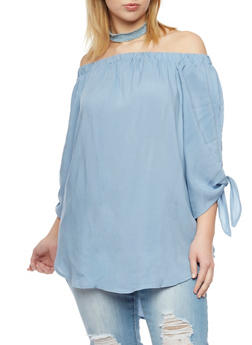 Plus Size Off the Shoulder High Low Top with Tie Sleeves - 8406051069254