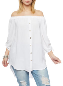 Plus Size Off the Shoulder Peasant Tunic Top with Tie Sleeves - 8406051069281