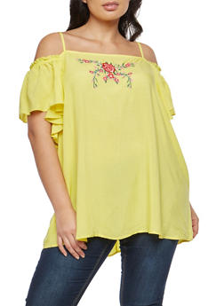 Plus Size Floral Embroidered Cold Shoulder Top - 8406051069650