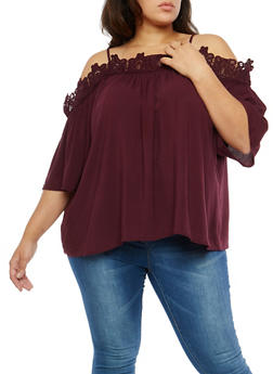 Plus Size Crochet Trim Off the Shoulder Top - 8406051069659