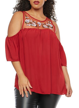 Plus Size Embroidered Mesh Cold Shoulder Top - 8406051069784
