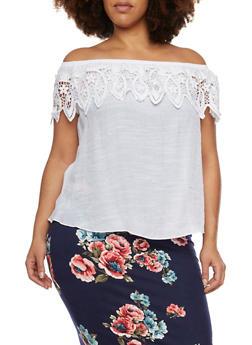 Plus Size Off the Shoulder Top with Crochet Trim - 8406054262591