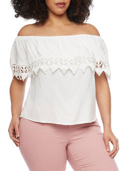 Plus Size Off the Shoulder Crotchet Trim Top - IVORY - 8406054264441