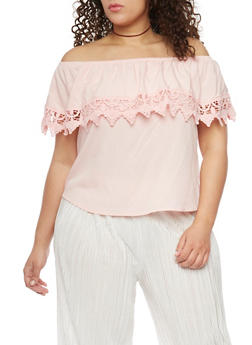 Plus Size Off the Shoulder Crotchet Trim Top - 8406054264441