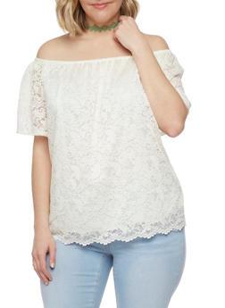Plus Size Off the Shoulder Crochet Lace Peasant Top - 8406054264691