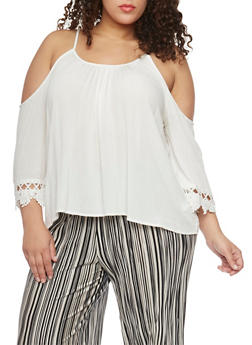 Plus Size Cold Shoulder Peasant Top with Crochet Trim - IVORY - 8406054269297