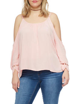 Plus Size Cold Shoulder Peasant Top with Crochet Trim - 8406054269297