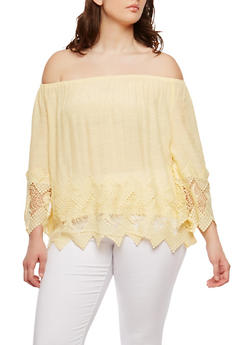 Plus Size Off the Shoulder Crochet Trim Top - 8406056122500
