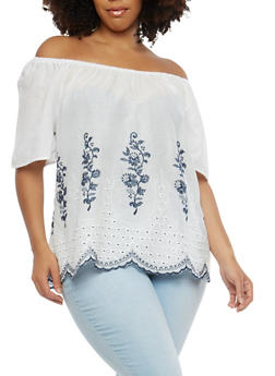 Plus Size Embroidered Off the Shoulder Top - 8406056122664