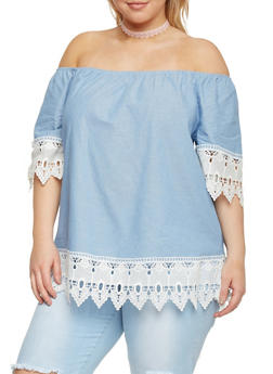 Plus Size Off the Shoulder Chambray Top with Crochet Trim - 8406056122689