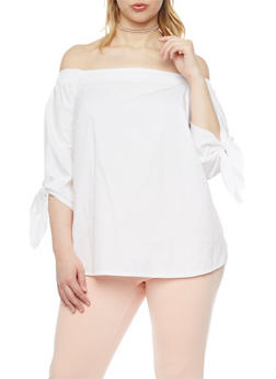 Plus Size Elastic Off the Shoulder Poplin Top - 8406056122771