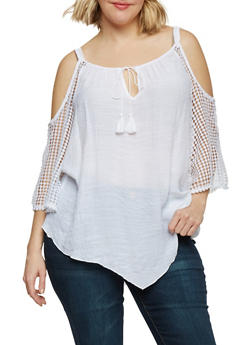 Plus Size Cold Shoulder Top with Crochet Sleeves - WHITE - 8406056122773