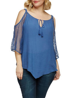 Plus Size Cold Shoulder Top with Crochet Sleeves - 8406056122773