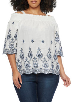 Plus Size Embroidered Cold Shoulder Peasant Top - 8406056122775