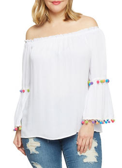 Plus Size Off the Shoulder Peasant Top with Pom Pom Trim - 8406056122782
