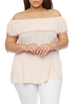 Plus Size Off the Shoulder Pom Pom Trim Top - 8406056122785