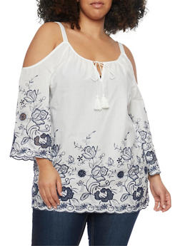 Plus Size Embroidered Gauzy Cold Shoulder Top - 8406056122797
