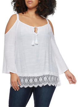 Plus Size Gauzy Cold Shoulder Top with Lace Trim - WHITE - 8406056122809