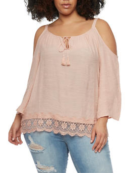 Plus Size Gauzy Cold Shoulder Top with Lace Trim - 8406056122809