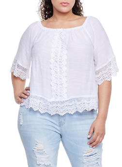 Plus Size Off the Shoulder Crochet Trimmed Top - WHITE - 8406056122860