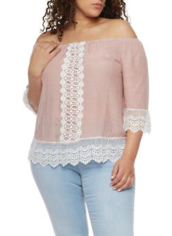 Plus Size Off the Shoulder Crochet Trimmed Top - 8406056122860