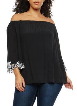 Plus Size Crochet Trim Off the Shoulder Peasant Top - 8406056124791